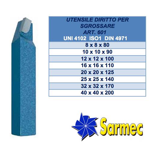 Art. 601 Utensile diritto per sgrossare ISO 1 · DIN 4971 · UNI 4102