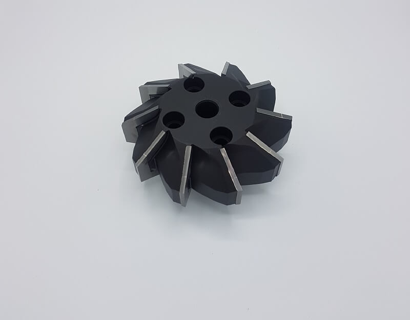 Prismatic shell end mill Ø 166x80x60° bore Ø40 with 10 carbide tipped inserts P25 to process steel