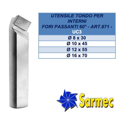 Articolo 671 Utensile tondo per interni fori passanti 60°